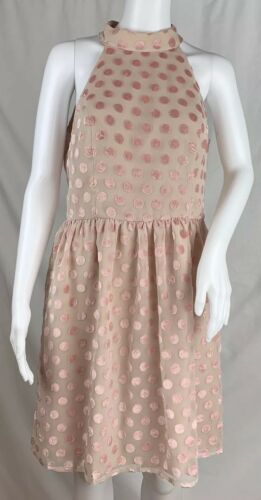 Ark & Co Blush Pink Halter Neck Dress Burn Out Pol