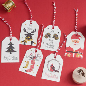 50PCS-Xmas-Paper-Cards-Labels-Hang-Tags-Christmas-DIY-Kraft-Tags-Supplies