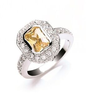 Argent-Sterling-Rubover-Citrine-Zircone-Halo-Bague-Taille-J