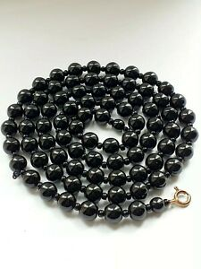 Black Glass Beaded Necklace Flapper
