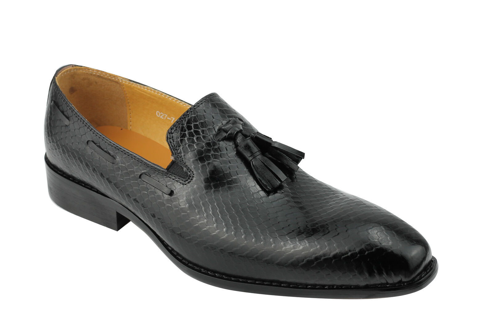 Mens Real Leather Black Classic Snakeskin Tassel Smart Party Wedding Shoes
