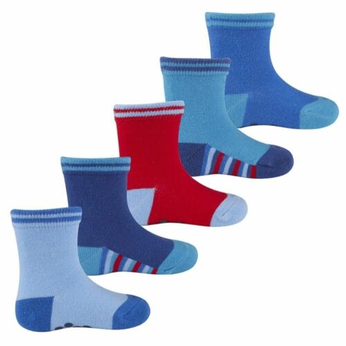 Baby Boys Blue Heel Toe Grip Cotton Rich Socks Anti Slip Grippers 5 Pair New