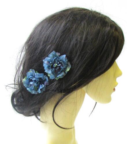 2 x bleu sarcelle oeillet fleur épingles à cheveux demoiselle d/'honneur floral rockabilly 1950s 1560