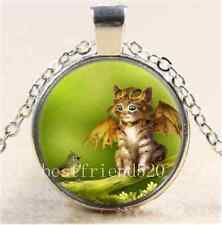 Steampunk Cat and Bird Cabochon Glass Tibet Silver Chain Pendant Necklace