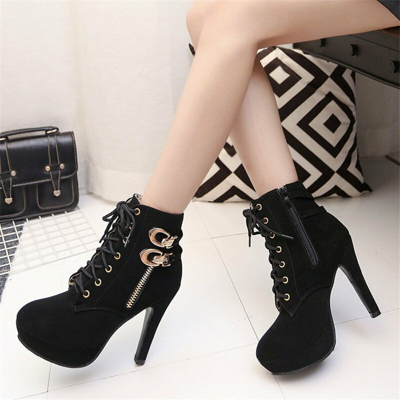 Womens Platform Stiletto Ankle Boots Casual Lace Up High Heels Shoes Buckles V72
