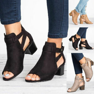 Details about Women Buckle Peep Toe MidLow Block Heel Ankle Boots Sandals Plain Shoes Summer