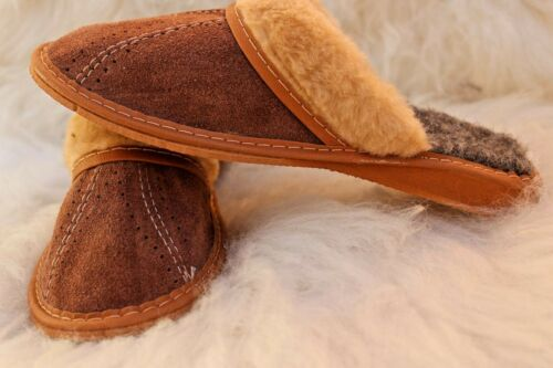 WOMENS  REAL SUEDE LEATHER /& NATURAL SHEEPS WOOL FELT WARM SLIPPERS ALL SIZES