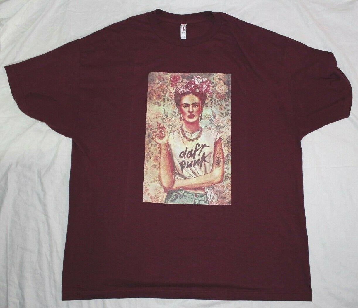 Daft Punk Smoking Girl Red Burgundy T shirt 2XL Size XXLarge Graphic Tee