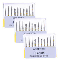 Dental Bur 3x Diamond Burs Kit Creamics/composite Polishing Yellow Fg-105 Azdent