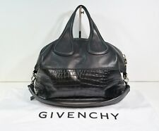 ffab3a74e0 Givenchy Nightingale medium croc embossed black leather with cloth bag