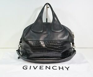 0659c36c1d Image is loading Givenchy-Nightingale-medium-croc-embossed-black -leather-with-