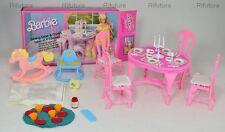 Barbie mobili liberty TAVOLO DA PRANZO+SEDIE '87 Mattel + HEART Family +box -1D3
