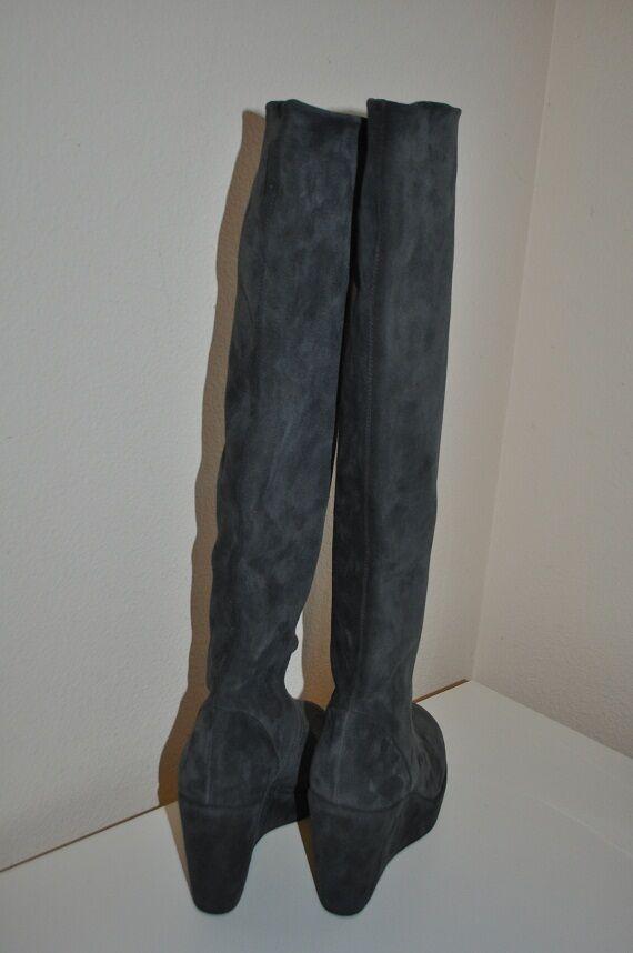 NEW  595+ Stuart Weitzman Suede GREY Tall Tall Tall Wedge Boots Sz 9.5 Narrow 4  Heel 73d07f