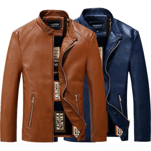 Fashion Mens leather jacket collar large code leather coats Windbreaker