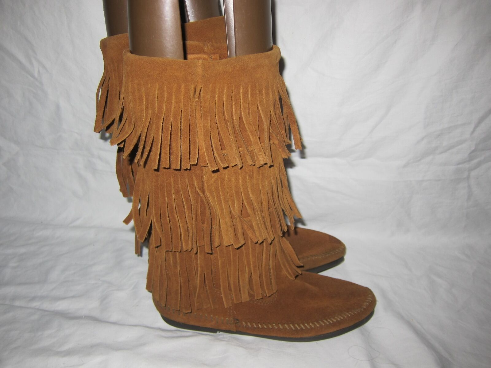 Minnetonka Womens 3 Layer Fringe Calf Hi Brown SUEDE Moccasin 1632 Boots Size 8