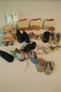 Vintage-Front-Snap-Oil-Cloth-Shoes-LOT-amp-Misc-Small-Doll-Ginny-Vogue-Size-Boots
