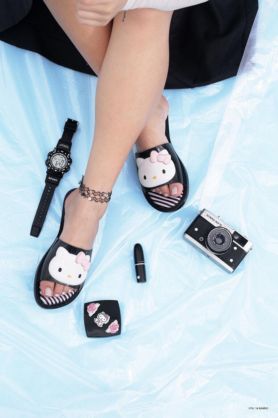 New Melissa Slipper + Hello Kitty 2019 Black Slide Sandal Authentic US 6, 7, 8 9