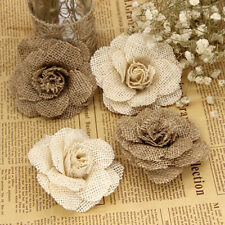 Supplies Home Decor Handmade Flowers Sew on Patch Jute Burlap Natural Hessian