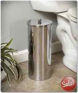 Toilet paper canister roll holder bathroom storage tissue chrome stainless steel ebay - Toilet roll canister ...