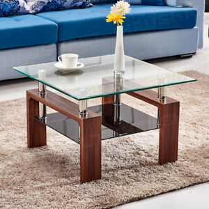 High Gloss Glass Coffee Table Brown Square Table Side End Table