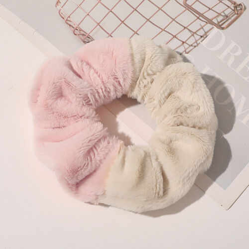 Details about  /Women Sweet Splicing Color Faux Fur Hair Scrunchie Elastic Rubber Band Hair Rope