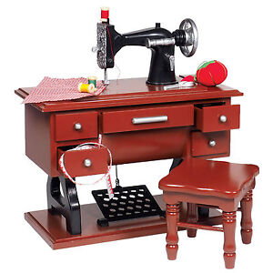 Wood-Antique-Style-Sewing-Machine-Sized-Fit-18-American-Girl-Doll-Furniture