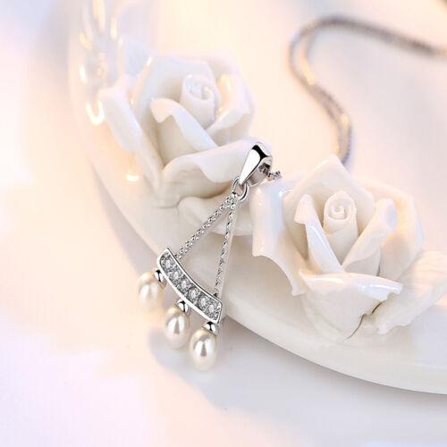 Fashion Femmes Or Blanc Plaqué Dangle Colliers Mariage Bijoux Perle Pendentif