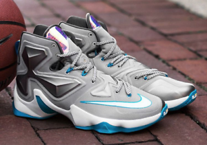 super popular 31638 967d3 Image is loading Mens-Nike-Lebron-Xiii-Wolf-Grey-white-lagoon-