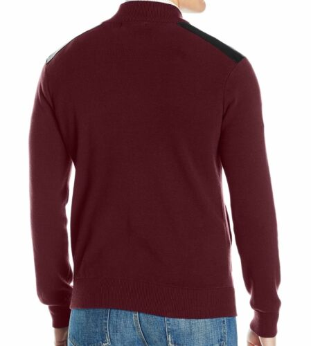 Merlot Red Kenneth Cole Reaction New Men/'s Mixed-Media Sweater Jacket