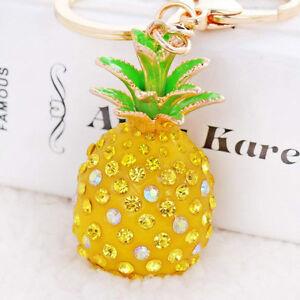 Pineapple Crystal Rhinestone Keyring Charm Pendant Bag Key Ring Chain Keychain