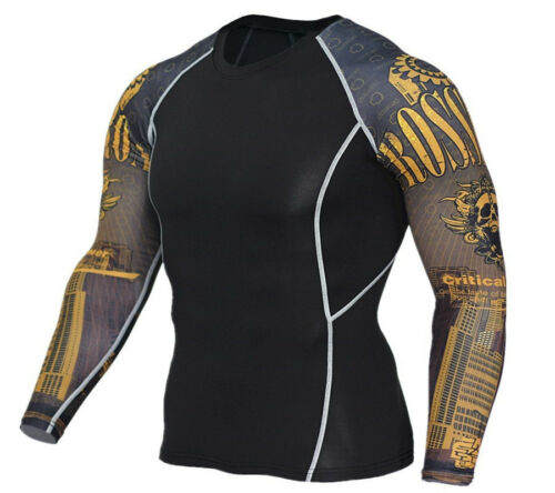 Mens Workout Sports T Shirt Athletic Gym Compression Top Long Sleeved Quick Dry