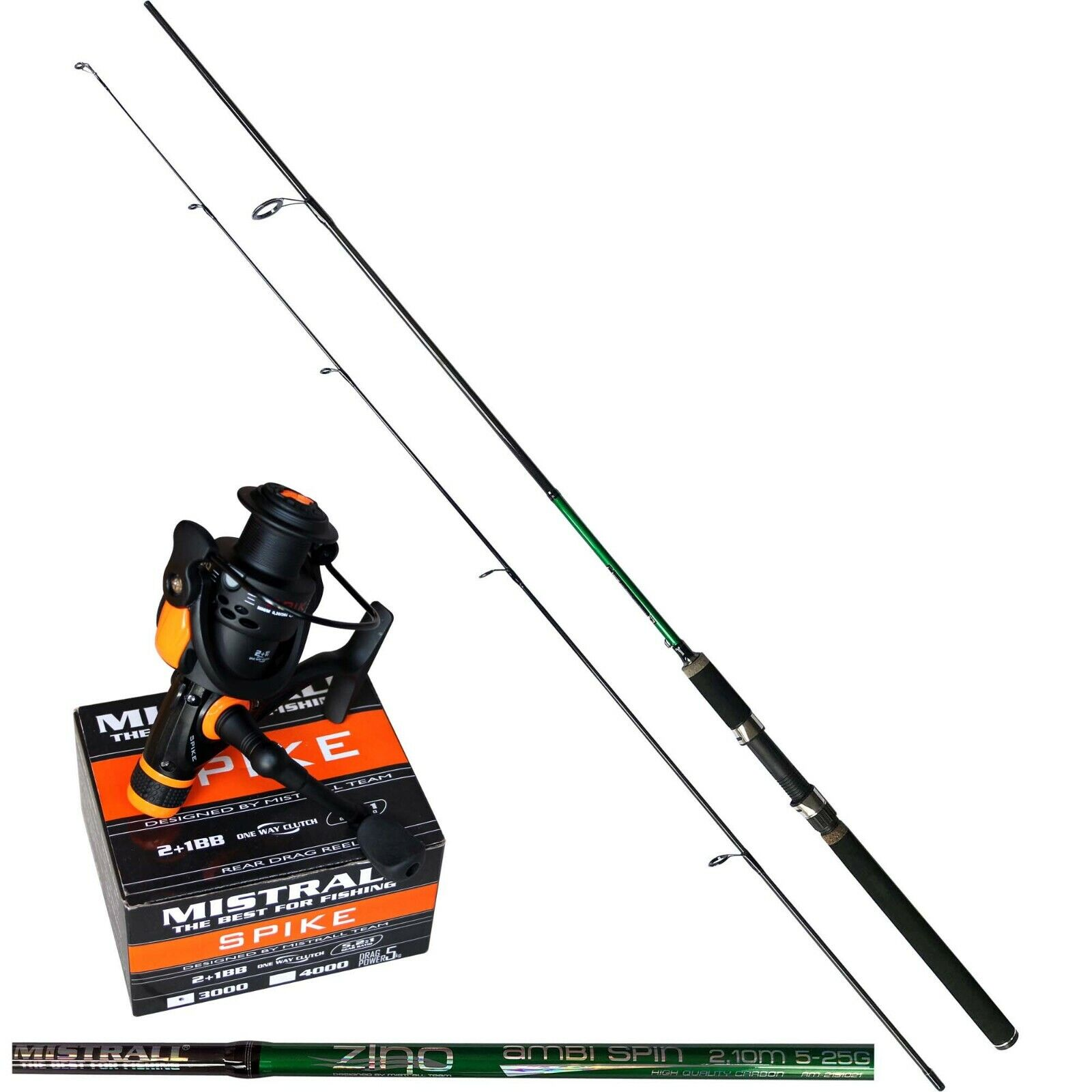 Amo Carbon canna da pesca steckrute ambi SPIN 2,10m 5-25g Angel Ruolo Spike 30rd