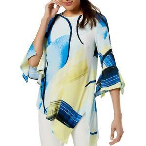ALFANI-NEW-Women-039-s-Printed-Asymmetrical-Blouse-Shirt-Top-TEDO