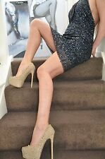 SEQUIN DARK-BLUE MINI DRESS PINKO Deep decollete back & BREAST stretch UK14 ,46