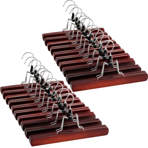 High-Grade Wooden Pants Hangers with Clips Non Slip Slack Skirt Hangers 20 Pack