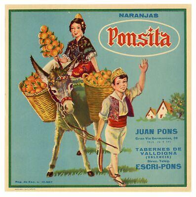 FRUIT CRATE LABEL SPANISH SPAIN VINTAGE CHILDREN DONKEY VALENCIA  PONSITA 9.5X10