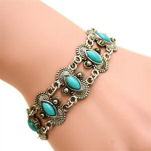 Sexy-bohemian-boho-fashion-lady-silver-turquoise-bracelet-wrist-bracelet-NYFK
