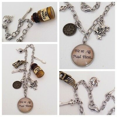 Alice In Wonderland /'We Are All Mad Here/' Silver Plated Charm Bracelet Tea Party