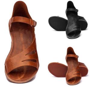 Women-Gladiator-Sandals-Buckle-Flat-Heel-Open-Toe-Lady-Leather-Shoes-Flip-Flops