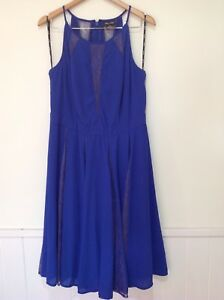 City-Chic-Plus-XS-14-Blue-High-Neck-Lace-Insert-Pleated-Summer-Cocktail-Dress