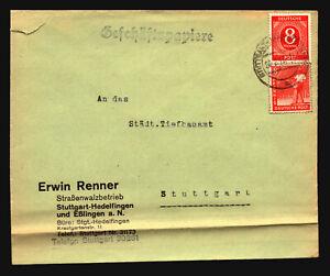 Germany-1948-Mixed-Franking-Cover-Left-Side-Tear-Bottom-Fold-Z14747
