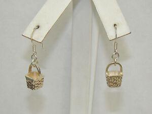Vintage-Sterling-Silver-Basket-Hook-Earrings-5-01-Grams-Item-P047
