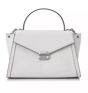 43aeaae444ea Michael Kors Whitney Large Satchel Purse Bag Leather Optic White   eBay