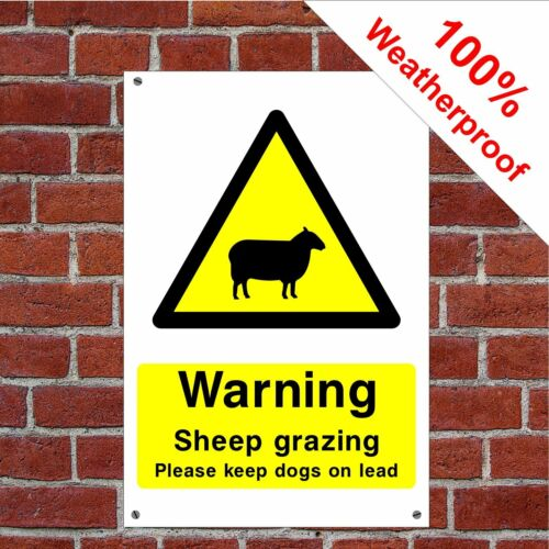 Avvertenza pecore al pascolo mantenere CANI SU PIOMBO salute e la sicurezza segnaletica paesi 0010