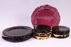 Amethyst-Vtg-Intaglio-Glass-Charger-Chop-Dinner-Plate-13-034-Italy-Purple-Have-Set