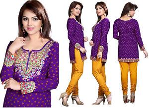 Top-Printed-Purple-Fashion-Indian-Short-Kurti-Tunic-Kurta-Shirt-Dress-127D
