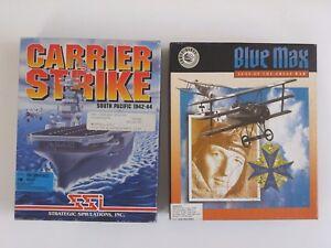 "Carrier Strike South Pacific & Blue Max IBM PC Games 3.5"" Floppy Disks - CIB"