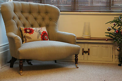 Victorian style love seat small button back sofa Laura Ashley Edwin French Grey