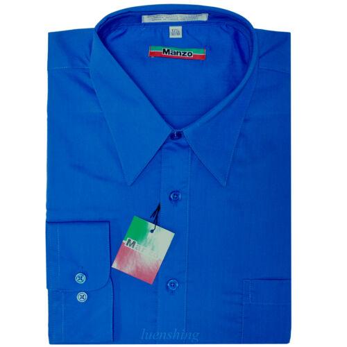 New men/'s shirt dress formal long sleeve prom wedding pointed collar royal blue
