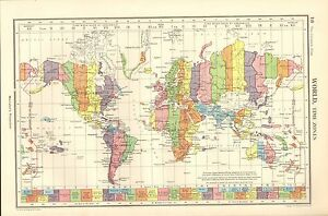 Australia And America Map.Details About 1952 Map World Time Zones Asia Europe America Australia Greenland